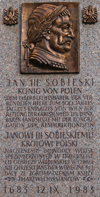 Sobieski plaque on outside wall of Kahlenberg Kirche