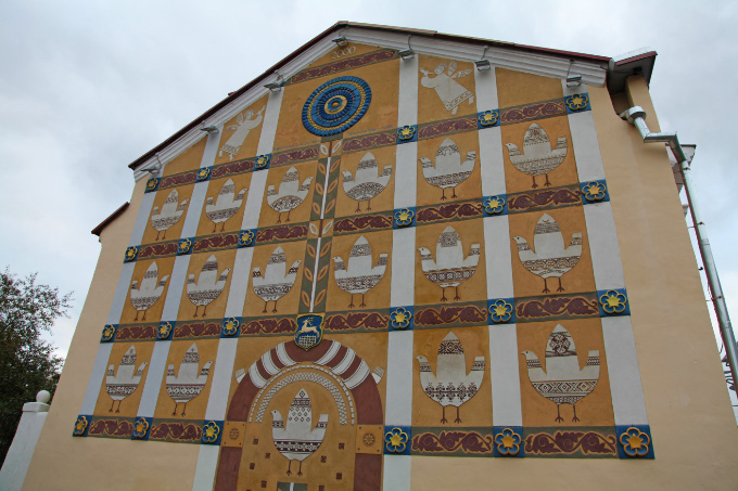 stylized wall mural with base relief in Grodno