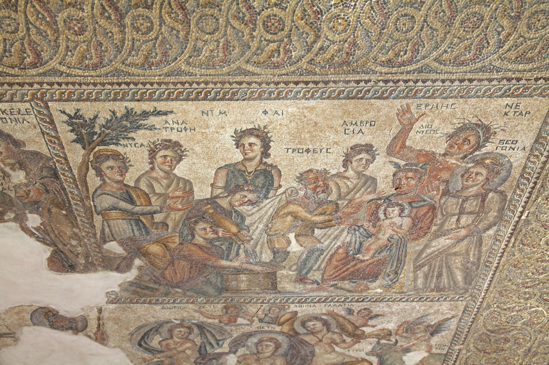 Aion Floor Mosaic upper right panel depicting Dionysos and Hermes