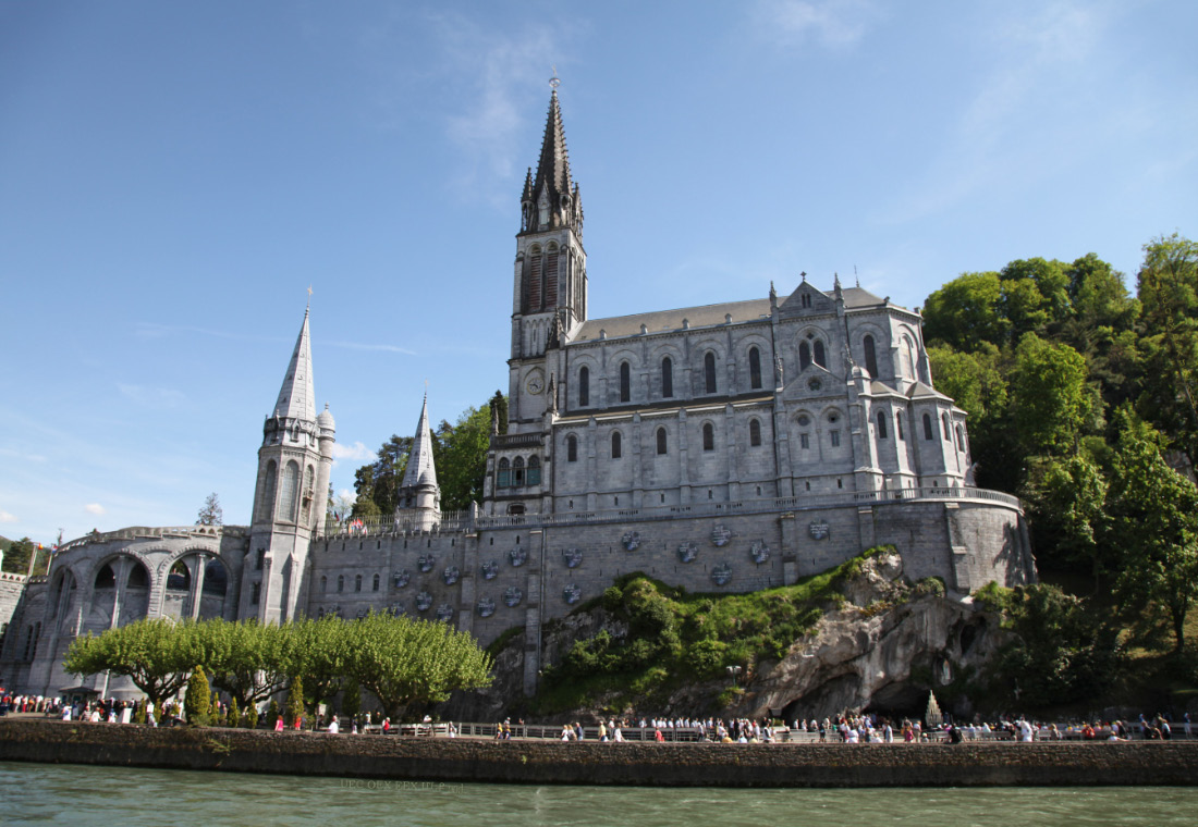 grotto and Upper Basilica at Lourdes