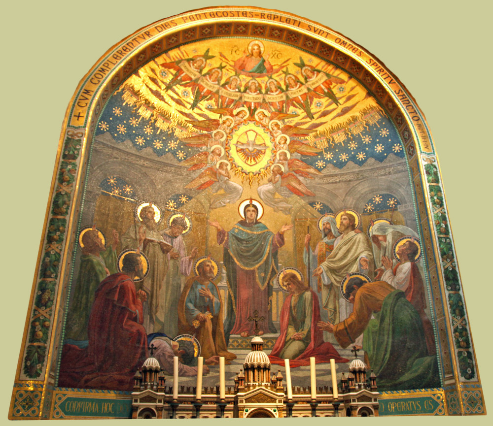 mosaic in Lourdes Seven Gifts of the Holy Spirit at Pentecost