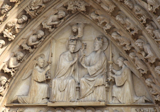 Crowning as Queen of Heaven of the Blessed Theotokos Mary depicted on the facade of Notre Dame by the year 1225