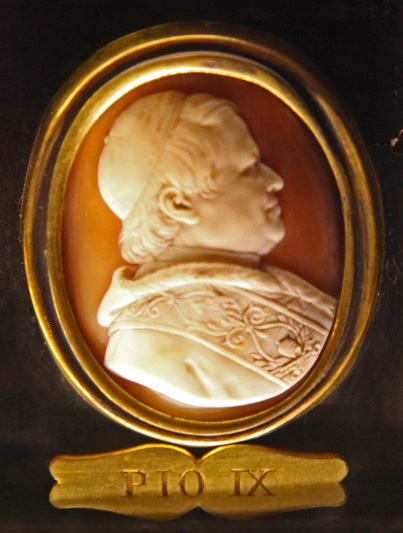 Pius IX's medallion in Notre Dame de Paris among those of the college of Popes