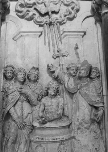 medieval base relief depicting the Baptism of Clovis in the Basilica of Saint Remi in Reims