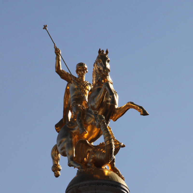 statute of Saint George in the center of Tblilisi