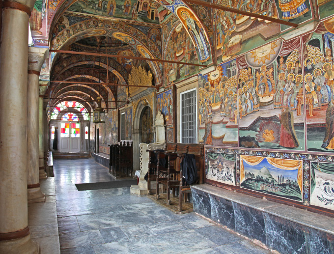 Narthex of main Church of the Holy Monastery of Megiste Lavra on Holy Mount Athos with frescos depicting the Seven Ecumenical Councils