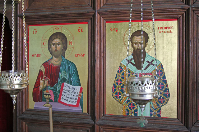 icon in Skete of Saint Gregory Palamas showing the saint and the Eucharist with The Lord
