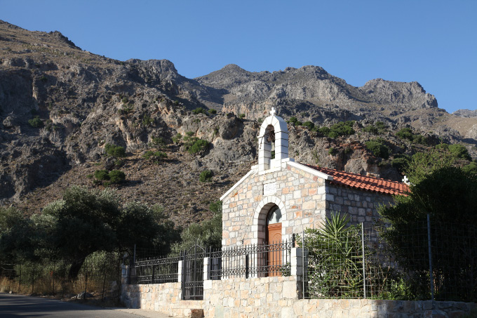 Church in South Central Crete and rocky mountain
