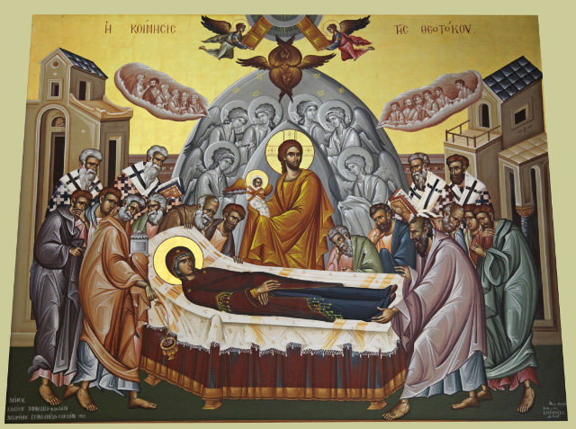 icon depicting the Dormition of the Blessed Theotokos in the Church of Saint Titus in Heraklion