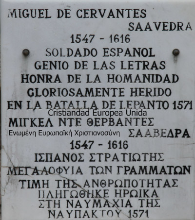 Cervantes plaque at Naupaktos