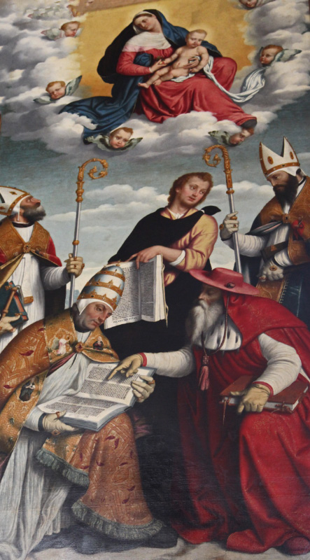 pope and cardinal and bishops with texts and prayers under Maria and Jesus