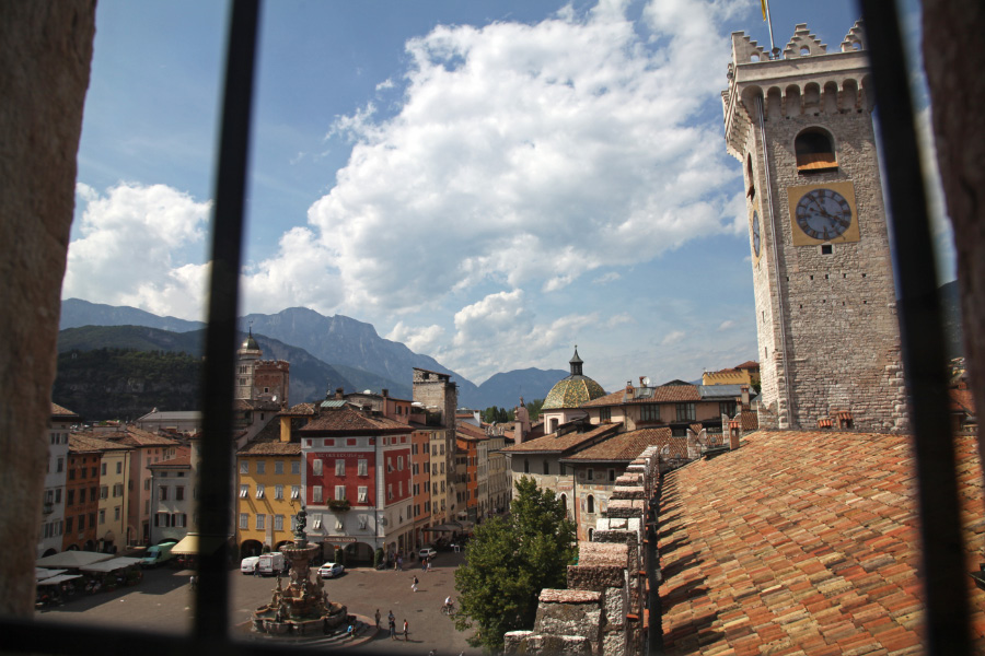 Trento and Torre Civica from a window of the 13th century Palazzo Pretorio, now the Tridentine Diocesan Museum
