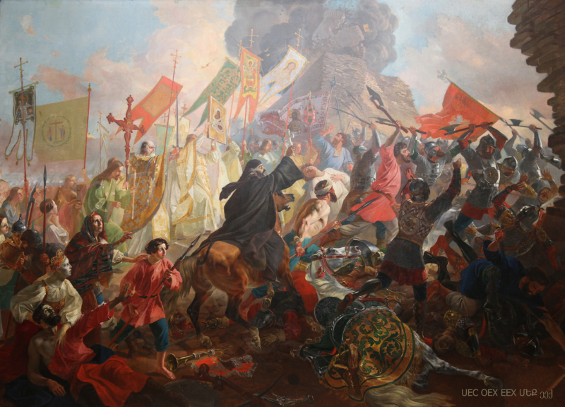Polish attacking Pskov painting by Buillov