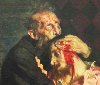 detail of Ivan IV and dying Dimitri by Repin