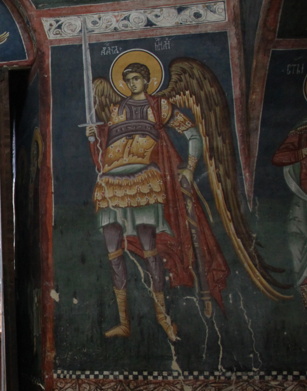 Archangel Saint Michael in fresco at the portal to the Narthex of  the Church of the Mother of God Hodegetria