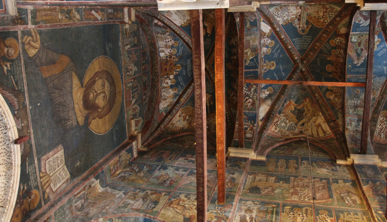 Written circa 1350 fresco of Lord Jesus in the central nave of the narthex in the Visoki Dečani Monastery in the Metohija region of Kosovo and Metohija then on cross vaulting panels on ceiling depictions of ecumenical councils
