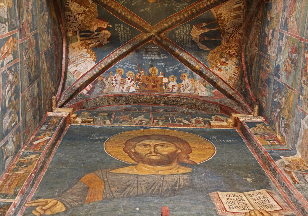 Lord Jesus up cross vault ceiling depicting First Ecumenical Council of Nicea