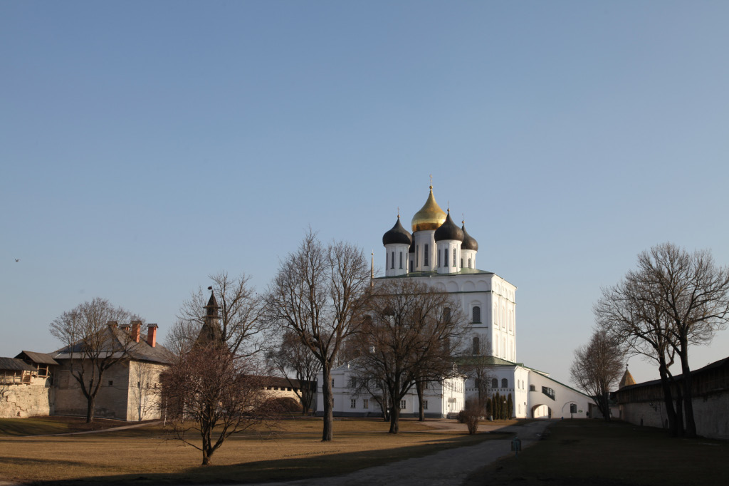 Holy Trinity Cathedral inside the late XIV century citadel walls of the Pskov Krom