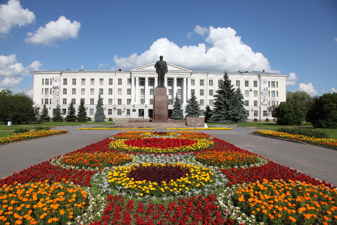 University of Pskov the flowerbeds of July in Russia and Lenin lousing up the picture