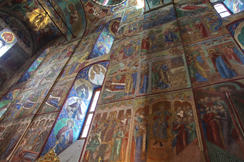 in European Christendom on northern wall of Dormition Cathedral in Sergiev Posad 17th century frescos of the Seven Ecumenical Councils