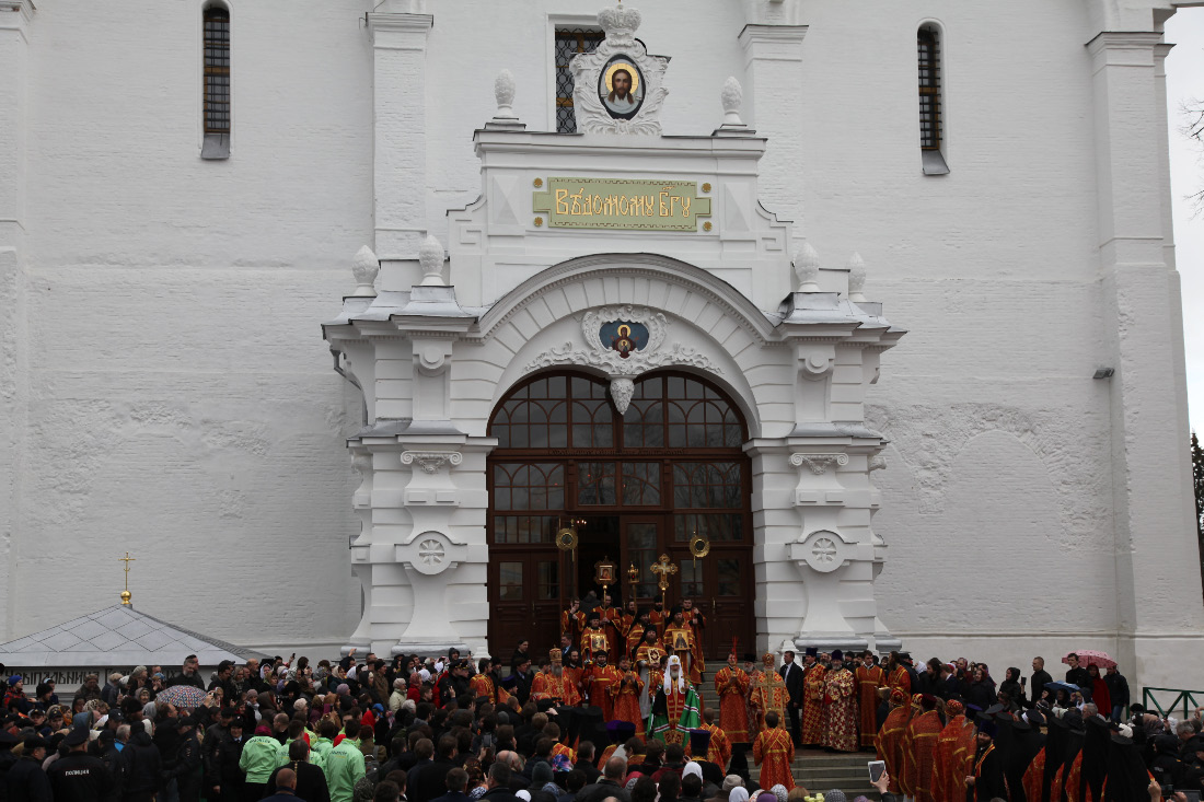 Assumption Cathedral and people and patriarch