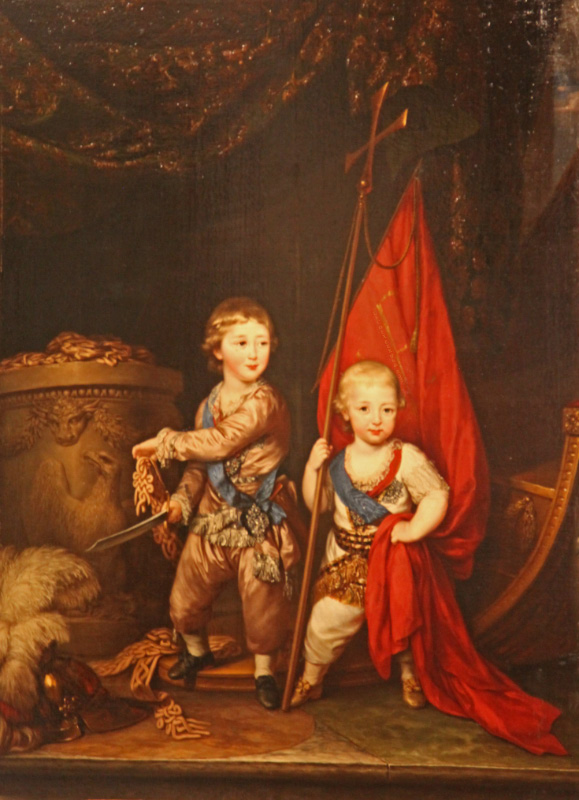 Portrait in the Hermitage of Grand Dukes Alexander Pavlovich and Constantine Pavlovich