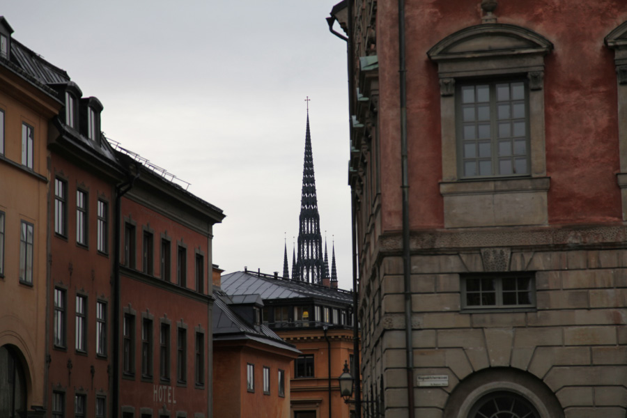 Stockholm with a view of the spire of Riddarholmskyrkan