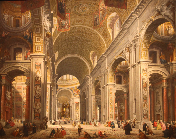 Interior of Saint Peter's Basilica (1754), by Giovanni Paolo Panini