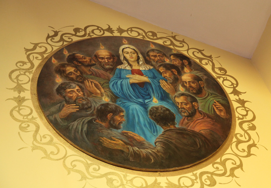 Pentecost fresco in the Armenian Catholic Cathedral of Our Lady of Bzommar
