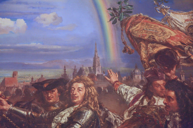 close fragment of Matejko Painting Battle of Vienna Sobieski Letter to Pope in Vatican