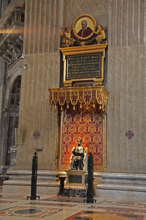 In Saint Peter's Basilica Peter enthroned and medallion of Pope Pius IX